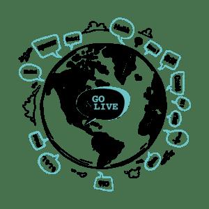 """Globe terreste avec le logo Go&Live et des bulles """"Salut"""" dans les différentes langues du monde"""